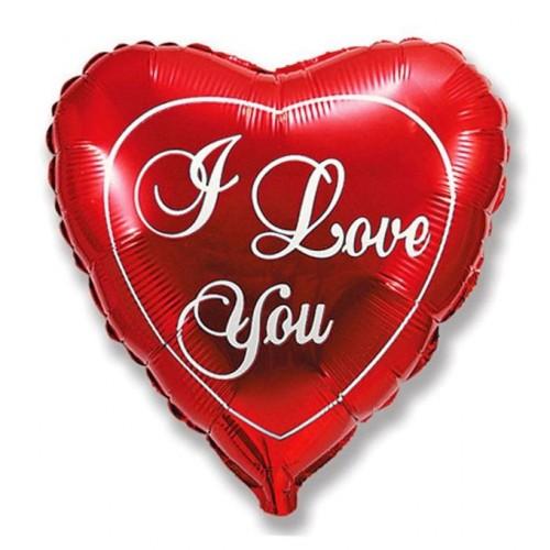 """Шар из фольги (18""""/46 см) Сердце Красный c над. I love you в 1 уп. 5 шт. (FM) (Испания)"""