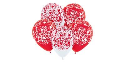 """Шар (12""""/30 см) с рис. Сердца Ассорти Красный Белый Пастель 50 шт. (Колумбия)"""