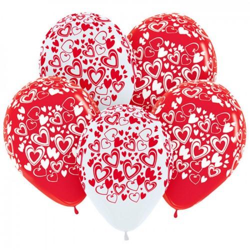"""Шар (12""""/30 см) с рис. Сердца Ассорти Красный Белый, Пастель 50 шт. (Колумбия)"""