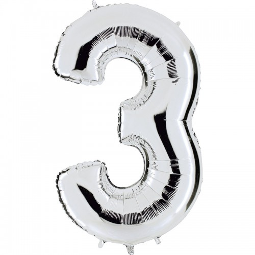 "Шар (40""/102 см) Цифра 3 Серебро 1 шт. (FM) (Испания)"