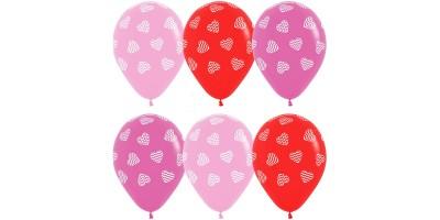 """Шар (12""""/30 см) с рис. Сердца Ассорти Красный Розовый Пастель 100 шт. (Колумбия)"""