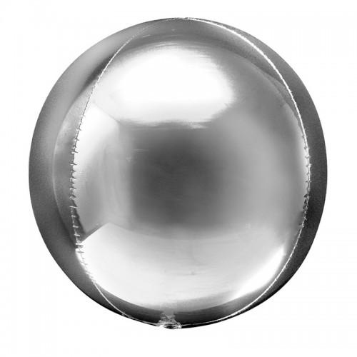 "Шар (24""/61 см) Сфера 3D Серебро 1 шт. (Китай)"