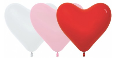 """Шар из латекса (18""""/41 см) Сердце, Ассорти Красный Белый, Пастель 100 шт. (Колумбия)"""