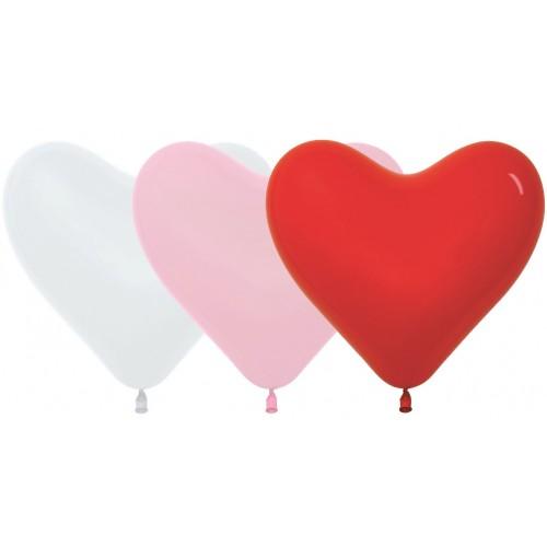 """Шар (18""""/41 см) Сердце Красный Белый Пастель 100 шт. (Колумбия)"""