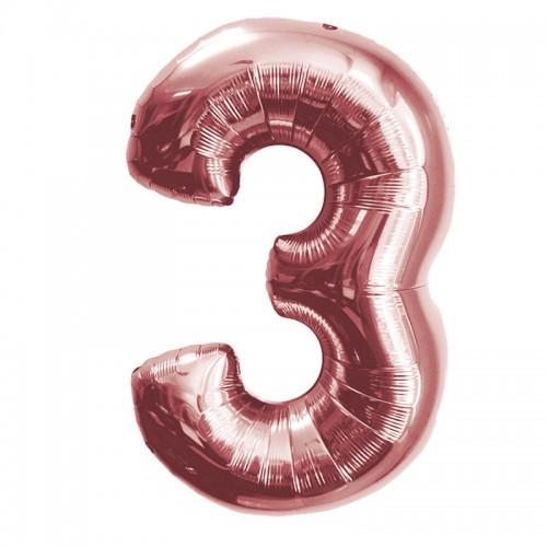 """Шар (40""""/102 см) Цифра 3 Розовое Золото 1 шт.  (FM) (Испания)"""