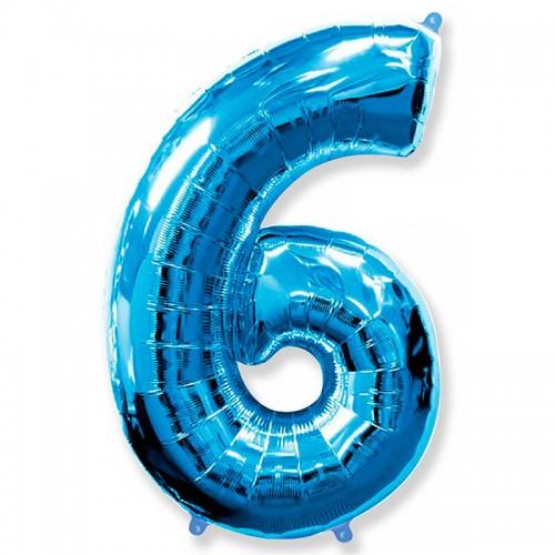 "Шар (40""/102 см) Цифра 6 Синий 1 шт. (FM) (Испания)"