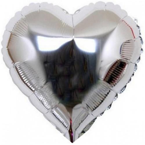 """Шар из фольги (18""""/46 см) Сердце Серебро 1 уп. 5 шт. (FM) (Испания)"""