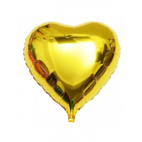 """Шар из фольги (18""""/46 см) Сердце Золото в 1 уп. 5 шт. (FM) (Испания)"""