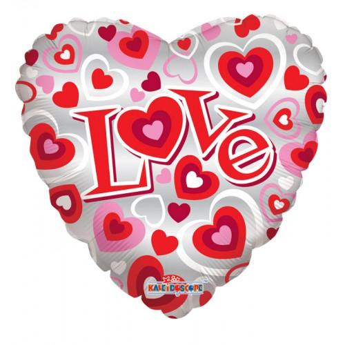 """Шар из фольги (18""""/46 см) Сердце с над. Love в 1 уп. 5 шт."""